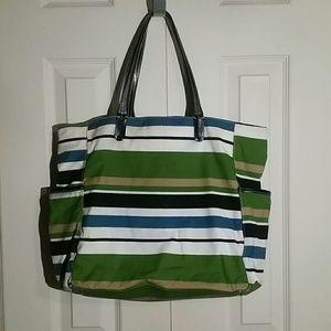 Merona Green Striped Tote bag